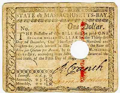 MAY 5th 1780 - $1 COLONIAL CURRENCY MASSACHUSETTS - FRMA-278 - HOLE CANCELLED