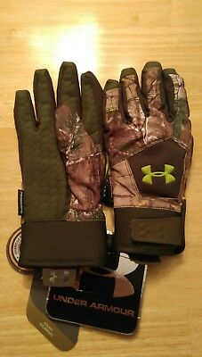 NWT $59.99 Under Armour Youth Boys Coldgear Infrared Insulated Gloves Camo M