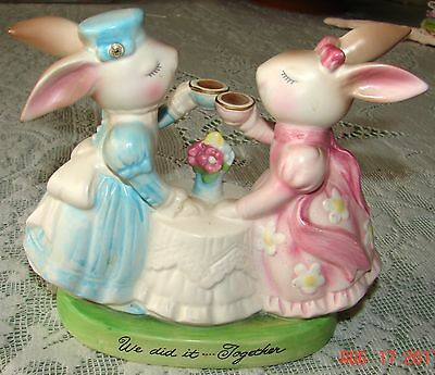 """Avon Cherished Moments Collection Rabbits """"we Did It Together"""" Figurine #28387"""