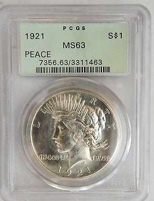 1921 Silver High Relief Peace Dollar PCGS MS63