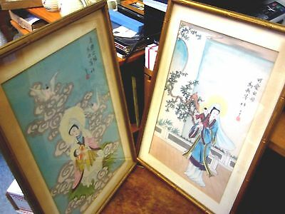 Pair Vintage Chinese Silk Art Mother and Child Angels Framed Signed