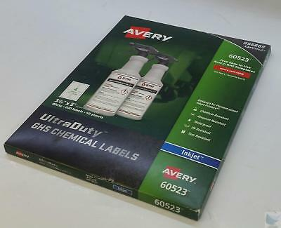 NEW NIB Pack Avery 60523 Inkjet GHS Chemical Labels 50 Sheets 200 Labels /Box