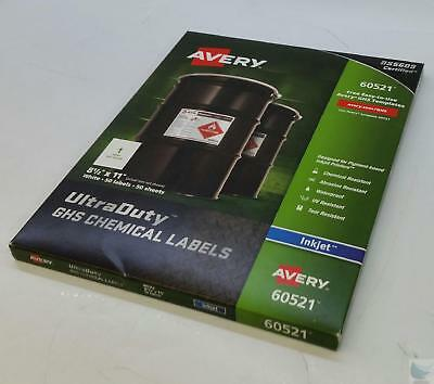 NEW NIB Pack Avery 60521 Inkjet GHS Chemical Labels 50 Sheets & Labels /Box