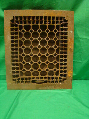 Antique Late 1800's Cast Iron Heating Grate Honeycomb Design 14 X 12
