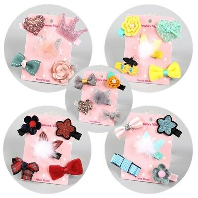 5Pcs/lot Cute Kids Baby Girl Angel Flower Bowknot Princess Hair Clip Hairpin Set