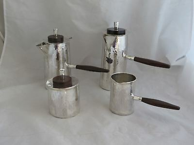 Awesome Mid-Century Hand Hammered Sterling & Mahogany Tea Service