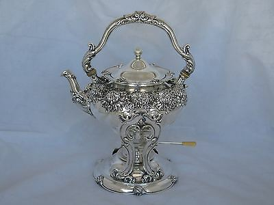 Antique Shreve Sterling Repousse Hot Water Kettle on Stand