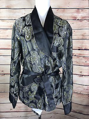 Jolie made in Japan Jacket Kimono w/ Belt Black Golden Silver Paisley Stitched K