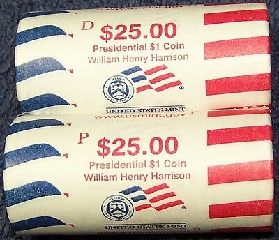 2009 William Henry Harrison Presidential Us Mint Wrapped P & D Dollar Rolls
