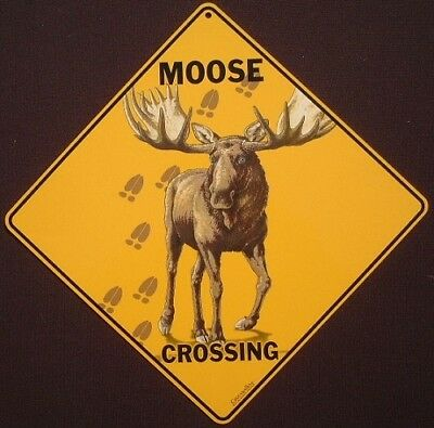 MOOSE CROSSING SIGN aluminum art decor home wildlife signs animals novelty
