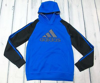 Adidas Large 14-16 Blue And Gray Boys Long Sleeve Hoodie Pullover Euc