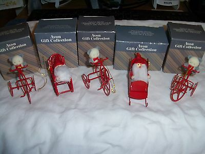 Vintage -Five - New In Box -Santa & Bear - Christmas Tree Ornaments