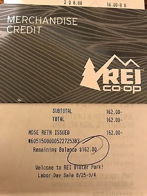 REI Gift Card Merchandise Credit $162.00 Value with Receipt