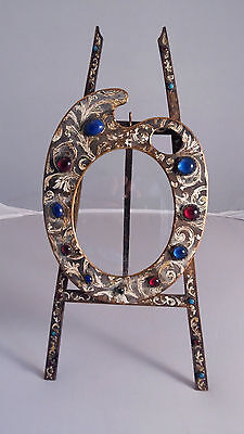 Antique Large Austrian Bronze Jeweled Picture Frame with Easel