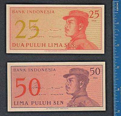 Indonesian 1964 banknote paper money 25 & 50 Sen. Military Junta, Sukarelawan