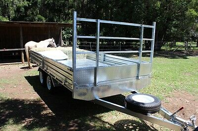 14x7 Flat Top 2000kg Galvanised Trailer Carry Hay, Pallets , Produce