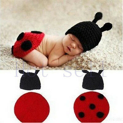 Newborn Baby Girl Crochet Knit Clothes Photo Photography Prop Costume Hat /red1