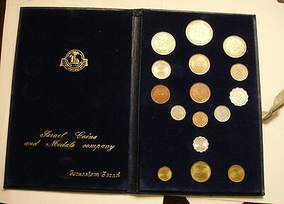 1949 -1963 16 piece Mint Set of Israel BU TRADE COINS with Silver in BLUE VELVET