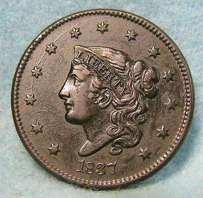 1837 Coronet Head Large Cent Choice XF * Circulated US Coin #1200