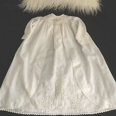 Antique White Christening Dress - Batiste With Embroidery