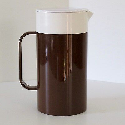 Decor Insulated Table Jug in Chocolate Brown & White, with Lid, c.1970s