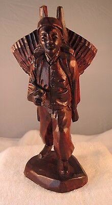 Wood Hand Carved  Oriental Man Sculpture Statue