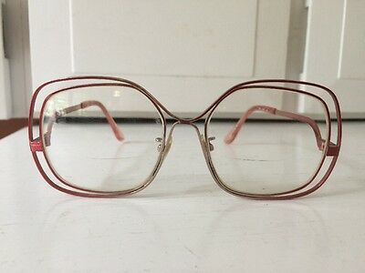 Vintage TURA Womens Sunglasses Eyeglasses Pink Metal Mod 202 France Japan RX