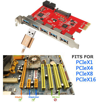 PCI-E to USB 3.0 5-Port Expansion Card with Internal 20Pin Connector for WIN 7 8