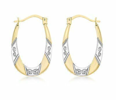 Carissima Gold 9ct Yellow and White Gold Creole Earrings 0.7g New