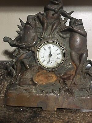 Vintage Brass !  Cast !  CLOCK   1st OFFER   IM SHIPPING  IT  FOR PARTS  ⚓️