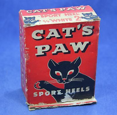 Vintage Cat's Paw Sport White Rubber Heels in Original Box