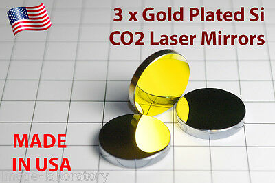 3x Made in USA for CO2 Gold plated Si mirror 25mm 20W-150W laser cutter engraver