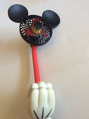 Disney Mickey Mouse Battery Operated Fan Hands Clip To Surface