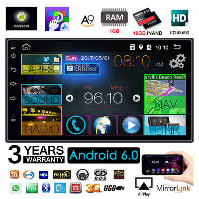 """Android 6.0 2 DIN Quad Core 3G WIFI 7"""" Double Car Radio MP5 Player GPS Bluetooth"""
