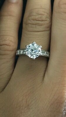 DIAMOND 1.51 ct Engagement Ring GIA Certified -  6 Claw set in 18K white Gold