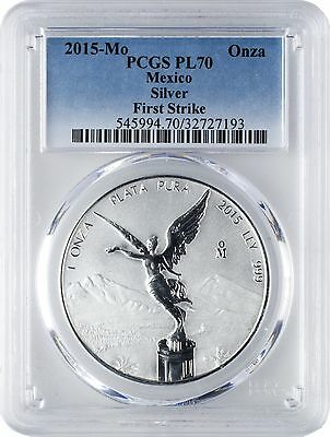 2015-Mo 1 Onza Mexico Silver Libertad .999 Silver Coin PCGS PL70 First Strike