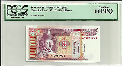 Mongolia State 1993 20 Tugrik PCGS 66PPQ GEM NEW SCWPM# 55 ND Currency horses