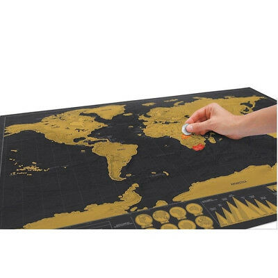 Deluxe 42*30CM Long Travel Edition Scratch Off World Map Poster Journal Log Map