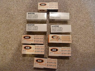 10 boxes Boston Standard Staples 5000 & Ace Scout Undulated Staples no. 200 &700