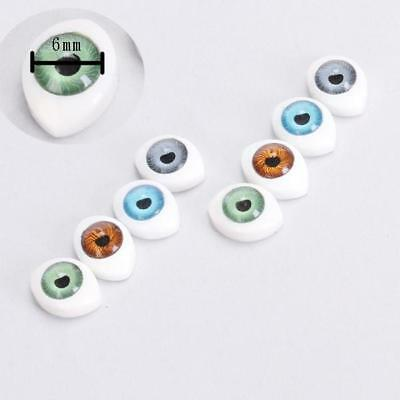 4Color8pcs 6mm Oval Hollow flat hollow back Eyes For DIY Doll Mask Accessory
