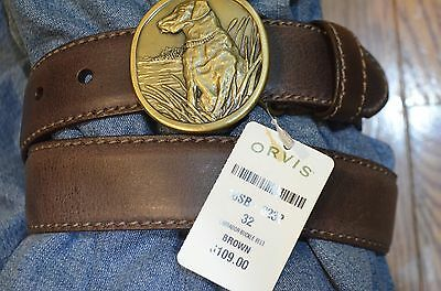 Orvis  Labrador Buckle Leather Belt Size 32  List$109 Made In Usa New