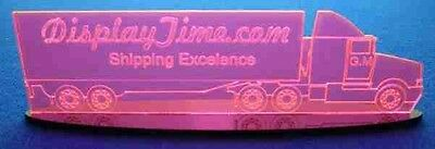 Personalized Edge Glow Acrylic Glass NAME PLATE BAR Semi Truck on Oval Base