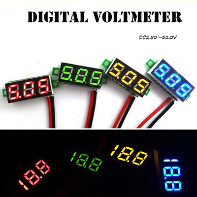 HOT Mini DC 30V LED 3-Digital Diaplay Voltage Voltmeter Panel Meter with 2 Wires