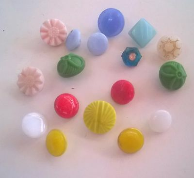 17 Vintage Small  Glass Buttons Sewing Craft  Quilt Necklace Collector