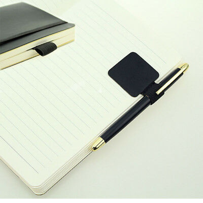 Brief Self-adhesive Leather Pen Holder W/ Elastic Loop Notebooks Clip Label Lot
