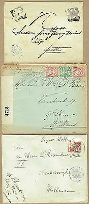 Netherlands East Indies 1905-17 stationery/cover trio (one Censored)