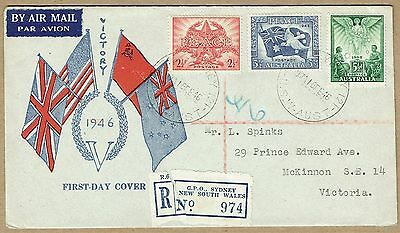 Australia 1946 Peace /Victory set Smyth registered FDC