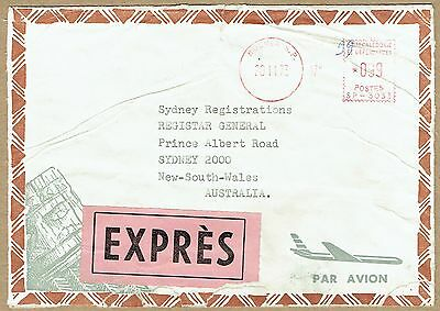 New Caledonia 1973 Express airmail Meter cover to Australia