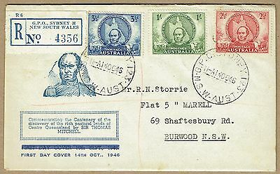 Australia 1946 Mitchell set Smyth amended dateline FDC registered