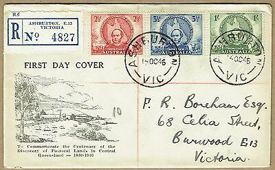 "Australia 1946 Mitchell set Bodin registered FDC - restrained serif ""FDC"""